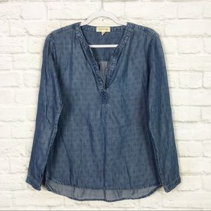 Cloth & Stone Anthropologie Printed Chambray Top M